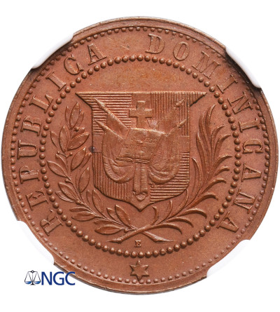 Dominikana 1 Centavo 1878 E, (Próba - cyfra 1 w wieńcu) - NGC PF 63 BN