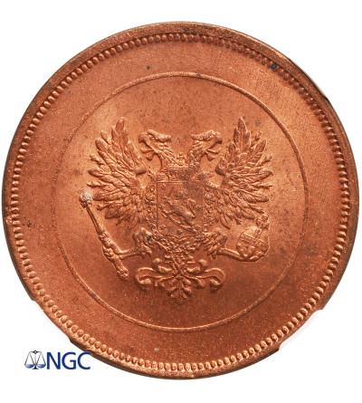 Finland 10 Pennia 1917, Eagle - NGC MS 64 RD