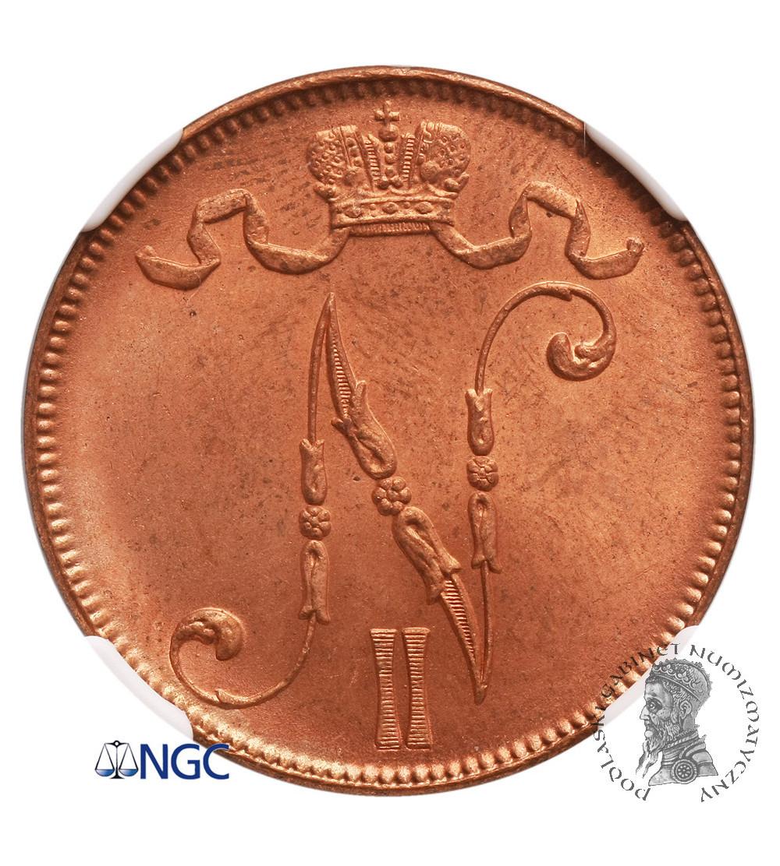 Finlandia (okupacja rosyjska) 5 Pennia 1917, Mikołaj II - NGC MS 65 RD