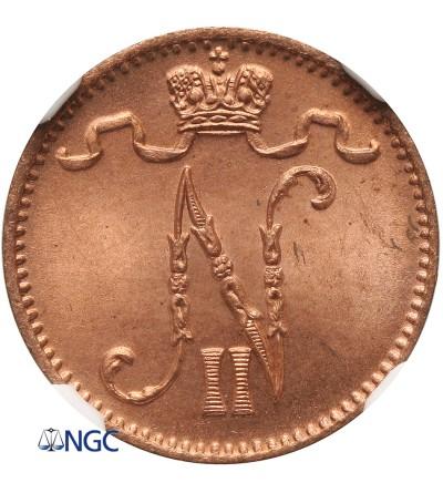 Finland (Russian occupation) 1 Pennia 1898, Nicholas II - NGC MS 66