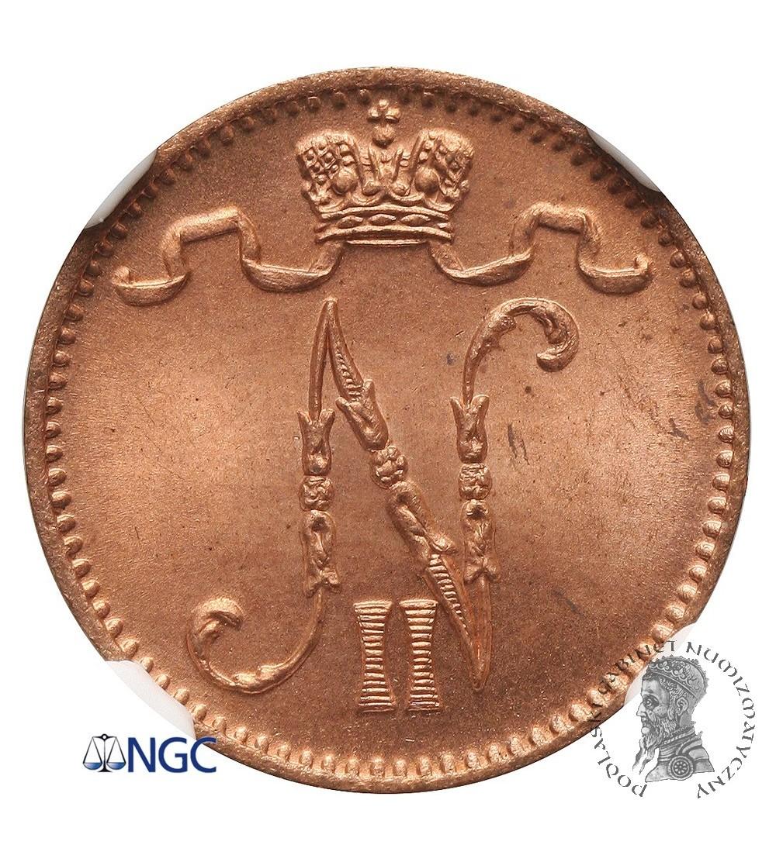 Finlandia (okupacja rosyjska) 1 Pennia 1898, Mikołaj II - NGC MS 66