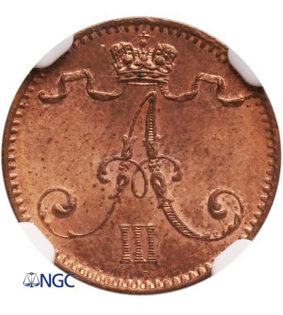Finlandia (okupacja rosyjska) 1 Penni 1893, Aleksander III - NGC MS 64 RB