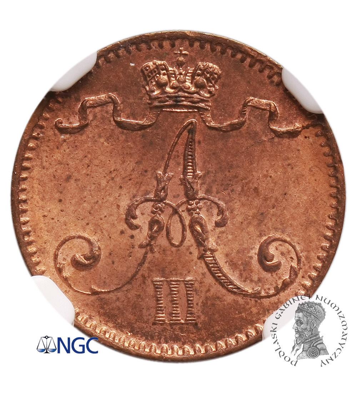 Finland (Russian occupation) 1 Penni 1893, Alexander III - NGC MS64 RB