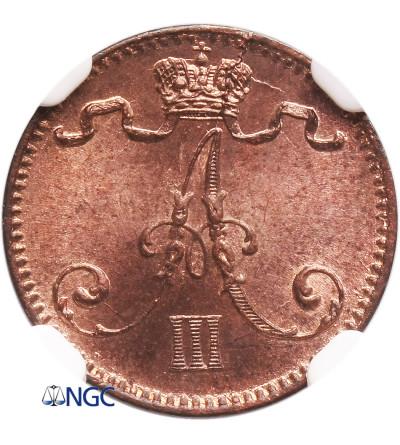 Finland (Russian occupation) 1 Penni 1888, Alexander III - NGC MS 64 RB