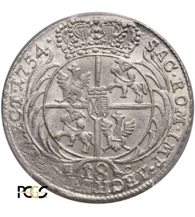 Polska, August III Sas. Ort (18 groszy) 1754 EC, Lipsk - PCGS MS 62