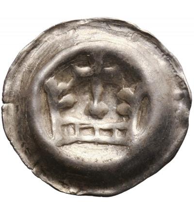 Zakon Krzyżacki. Brakteat guziczkowy ok. 1287-1298, Aw.: Korona z krzyżem