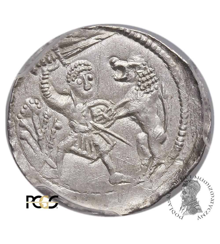 Polska. Władysław II Wygnaniec 1138-1146. Denar bez daty, walka z lwem - PCGS MS 63