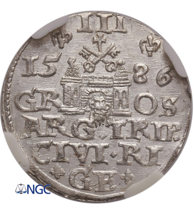 Polska. Stefan Batory. Trojak (3 grosze) 1586, Ryga - NGC MS 64