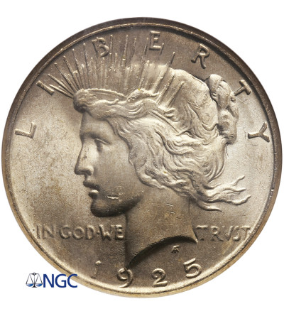 USA Peace Dolar 1925, Filadelfia - NGC MS 63