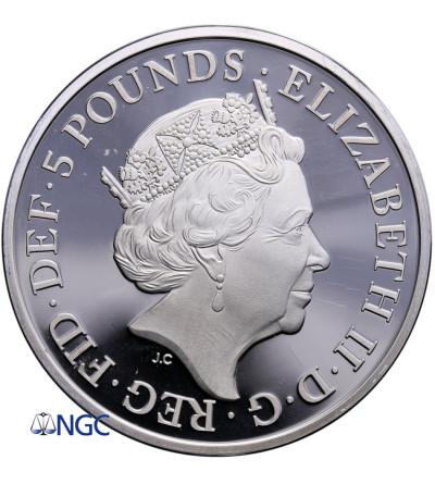 Wielka Brytania 5 funtów 2017, Szafirowy Jubileusz Rządów Elżbiety 1952-2017 - PIEFORT NGC PF 66 Ultra Cameo