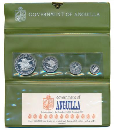 Anguilla, Proof Set 1/2, 1, 2, 4 dolary 1969 - 4 sztuki