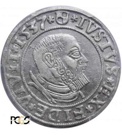 Prusy Książęce. Albrecht Hohenzollern. Grosz 1537, Królewiec -  PCGS AU 58