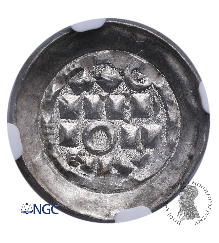 Włochy - Mediolan. Denaro Scodellato bez daty, Henryk II 1014-1024 AD - NGC MS 66