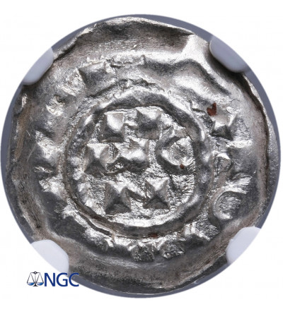 Włochy - Mediolan. Denaro Scodellato bez daty, Henryk II 1014-1024 AD - NGC MS 66+
