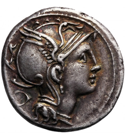 Rzym Republika. AR Denar 111-110 r. p.n.e., Ap. Claudius Pulcher, T. Manlius Mancinus i Q. Urbinius, mennica Rzym