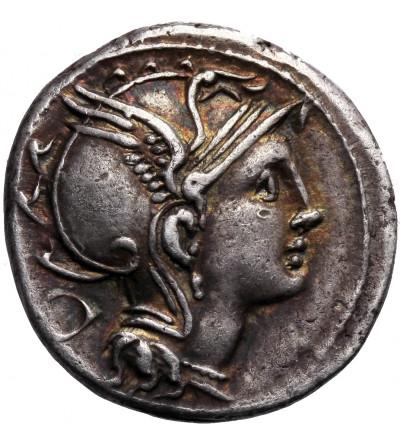 The Roman Republic. AR Denarius 111-110 BC, Ap. Claudius Pulcher, T. Manlius Mancinus and Q. Urbinius, Roma mint