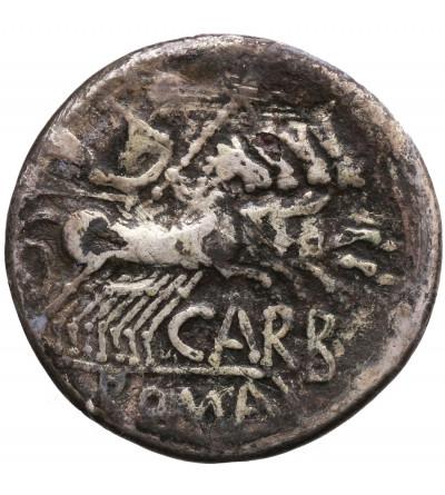 Rzym Republika. Cn. Carbo, AR Denar 121 r. p.n.e., mennica Rzym