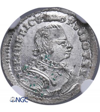Prusy, dla Śląska. 2 Greszele 1751 B, Wrocław, Fryderyk II Wielki - NGC MS 64
