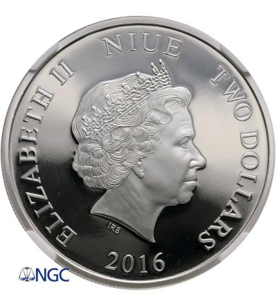 Niue 2 Dollars 2016, Great migrations - zebra, NGC PF 69 Ultra Cameo
