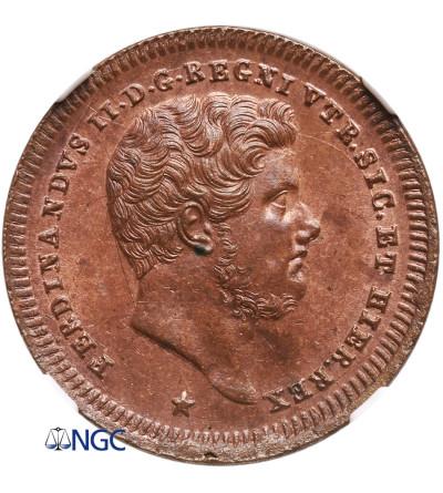 Włochy. Królestwo Neapolu i Sycylii. 2 Tornesi 1842 - NGC MS 64 RB