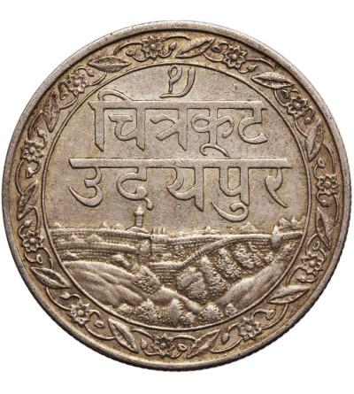 Indie - Mewar, 1 rupia VS 1985 / 1928 AD, Fatteh Singh (Dosti Lundhun)