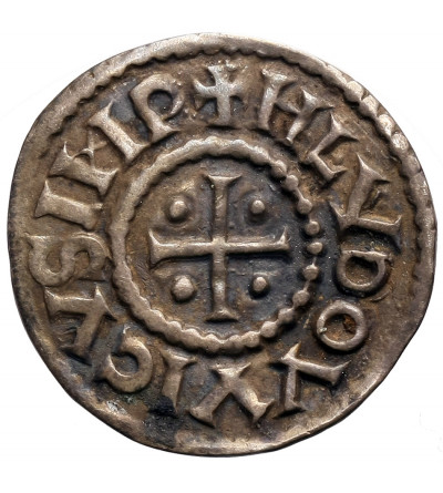 Francja (Karolingowie). AR Denar bez daty, Louis the Pious (Ludwik I Pobożny) 814-840 AD