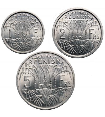 Reunion 1, 2, 5 franków 1948-1955 - zestaw 3 sztuki