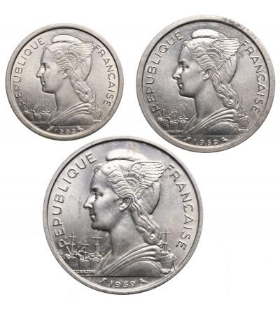 Francuska Somalia 1, 2, 5 franków 1959, zestaw 3 sztuki