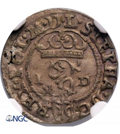 Polska. Stefan Batory. Szeląg 1586 ID / N-H, Olkusz - NGC MS 62