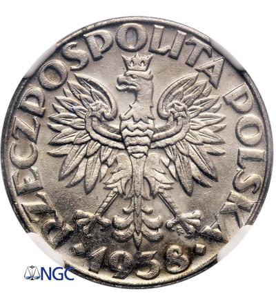 Poland 50 Groszy 1938, Warsaw - NGC MS 61