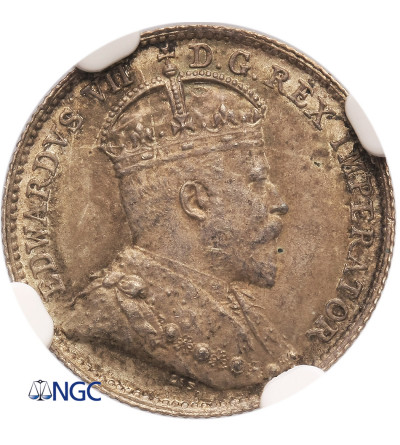 Kanada 5 centów 1910, Holly Leves, Edward VII - NGC MS 63