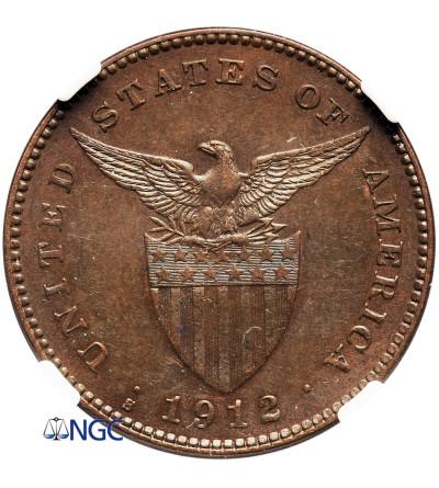 Filipiny 1 Centavo 1912 S - NGC MS 62 BN