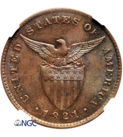 Filipiny 1 Centavo 1921 - NGC MS 65 BN