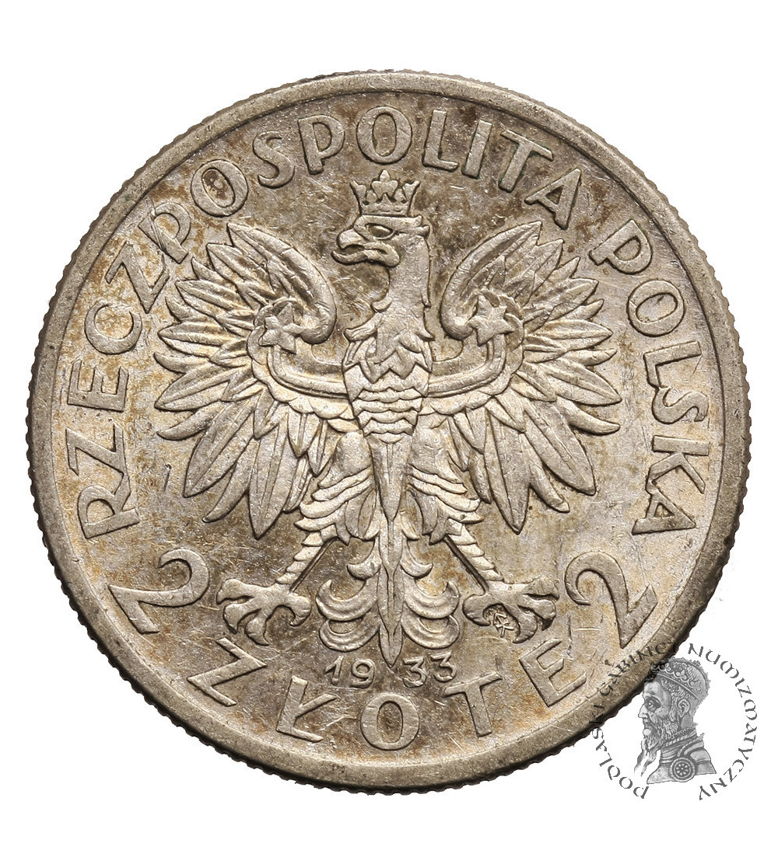 Poland 2 Zlote 1933, Warsaw, woman's head