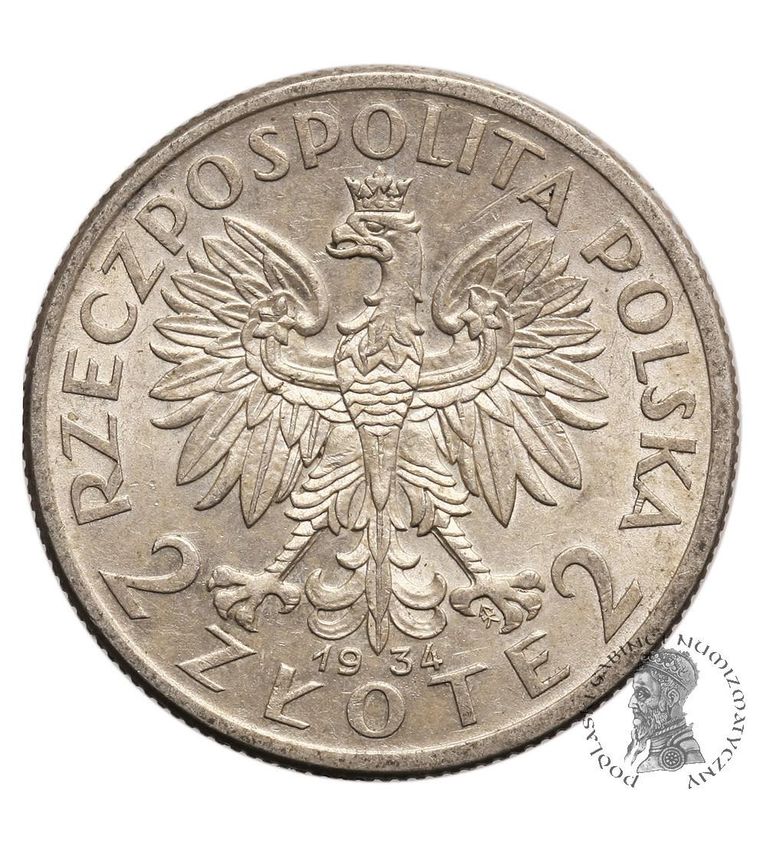 Poland 2 Zlote 1934, Warsaw, woman's head