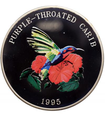 Turks & Caicos Islands 25 Crowns 1995, Purple-throated carib bird