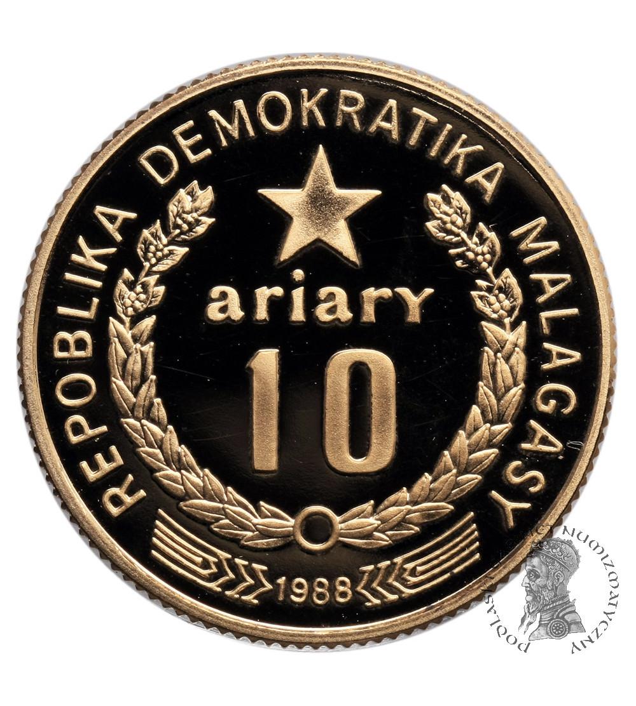 Madagaskar (Republika Demokratyczna) 10 Ariary 1988, Ibis - Proof