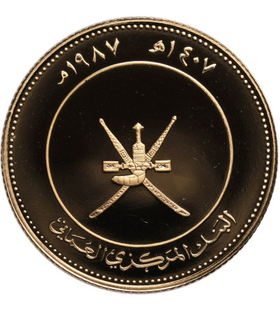 Oman, 25 Omani Rials AH 1407 / 1987 AD, Głuptak Maskowy - Proof