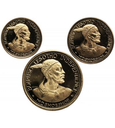 Lesotho, 1 Loti, 2 i 4 Maloti 1966, Moshoeshoe II - złoto zestaw 3 sztuki