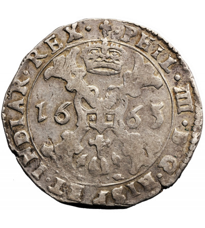 Spanish Netherlands (Belgium), Flandren. 1/2 Patagon 1665, Brugge, Philippe IV