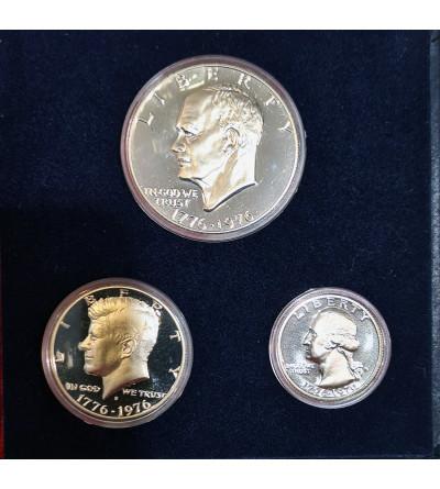 USA zestaw w srebrze 25, 50 centów 1 dolar 1976 S, San Francisco - Proof