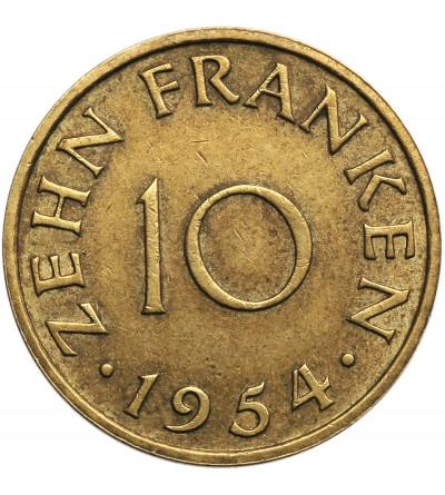 Germany, Saarland. 10 Franken 1954
