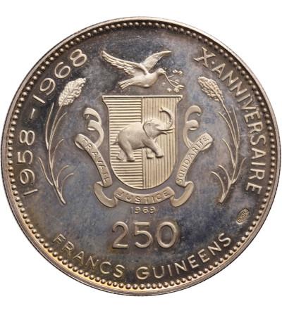 Gwinea, 250 franków 1969, lądowanie na księżycu